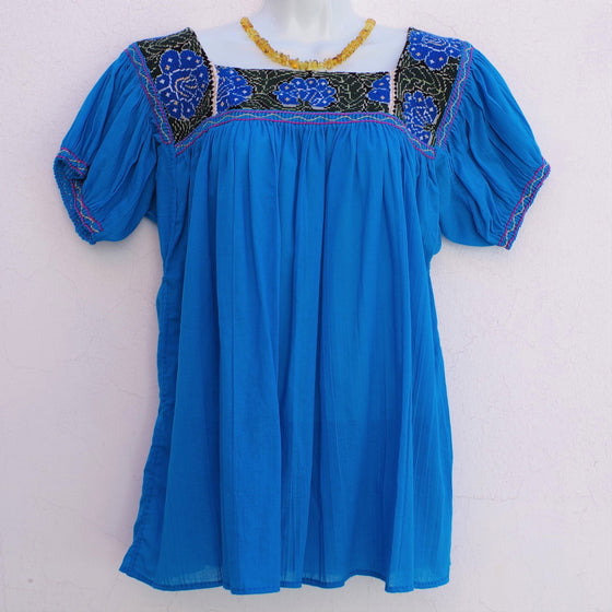 Mayan Copal Blue Mexican Huipil Vintage Blouse with Blue and Dark Green Hand Embroidery from Chiapas L Size