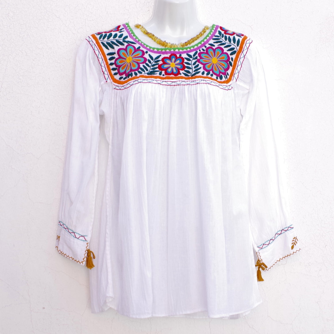 Mayan Copal White Mexican Huipil Round Neck Blouse with Multi color Flower Hand Embroidery from Chiapas M Size