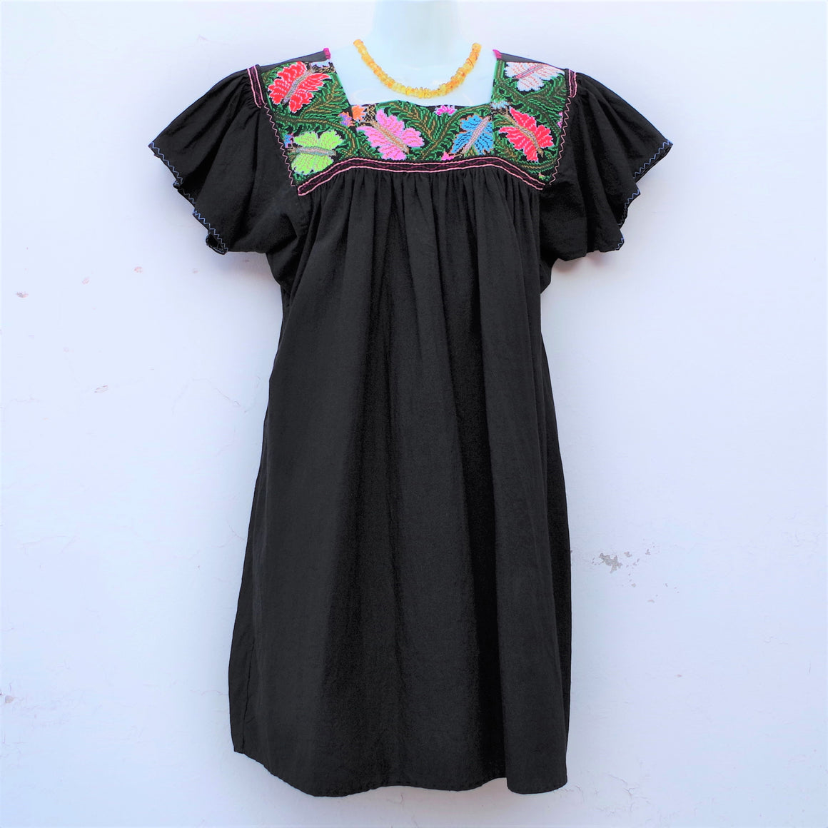 Mayan Copal Black Mexican Huipil Vintage Blouse with Multi color Butterfly Hand Embroidery from Chiapas M Size