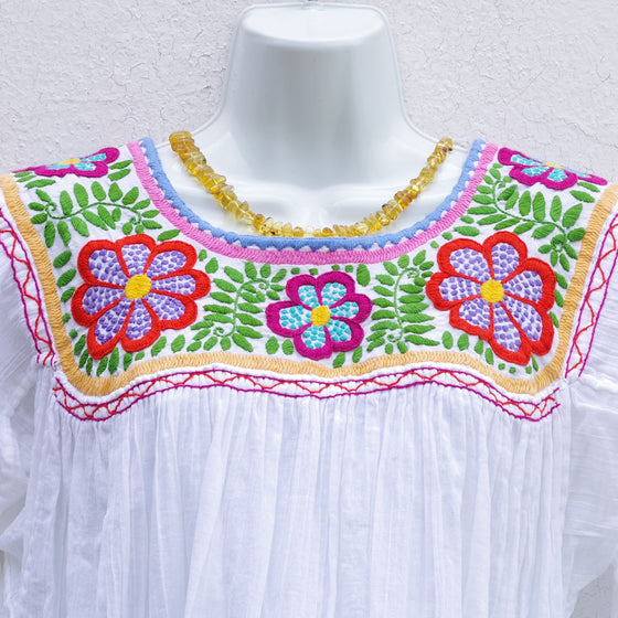 Mayan Copal White Mexican Huipil Round Neck Blouse with Multi color  Flower and Leaves Hand Embroidery from Chiapas M Size