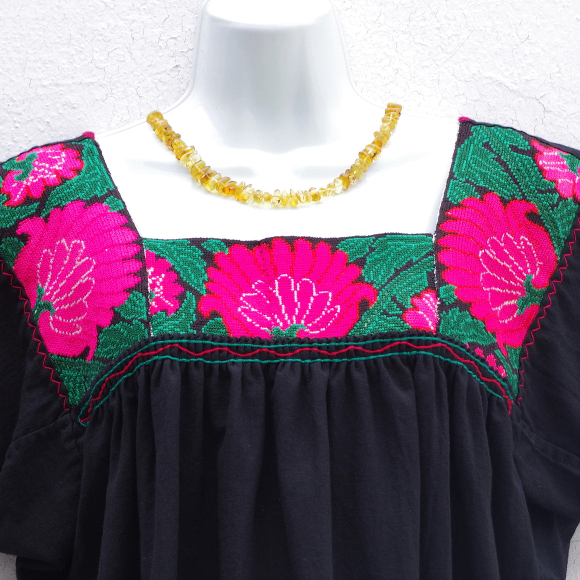 Mayan Copal Black Mexican Huipil Vintage Blouse with Pink and Green Hand Embroidery from Chiapas L Size