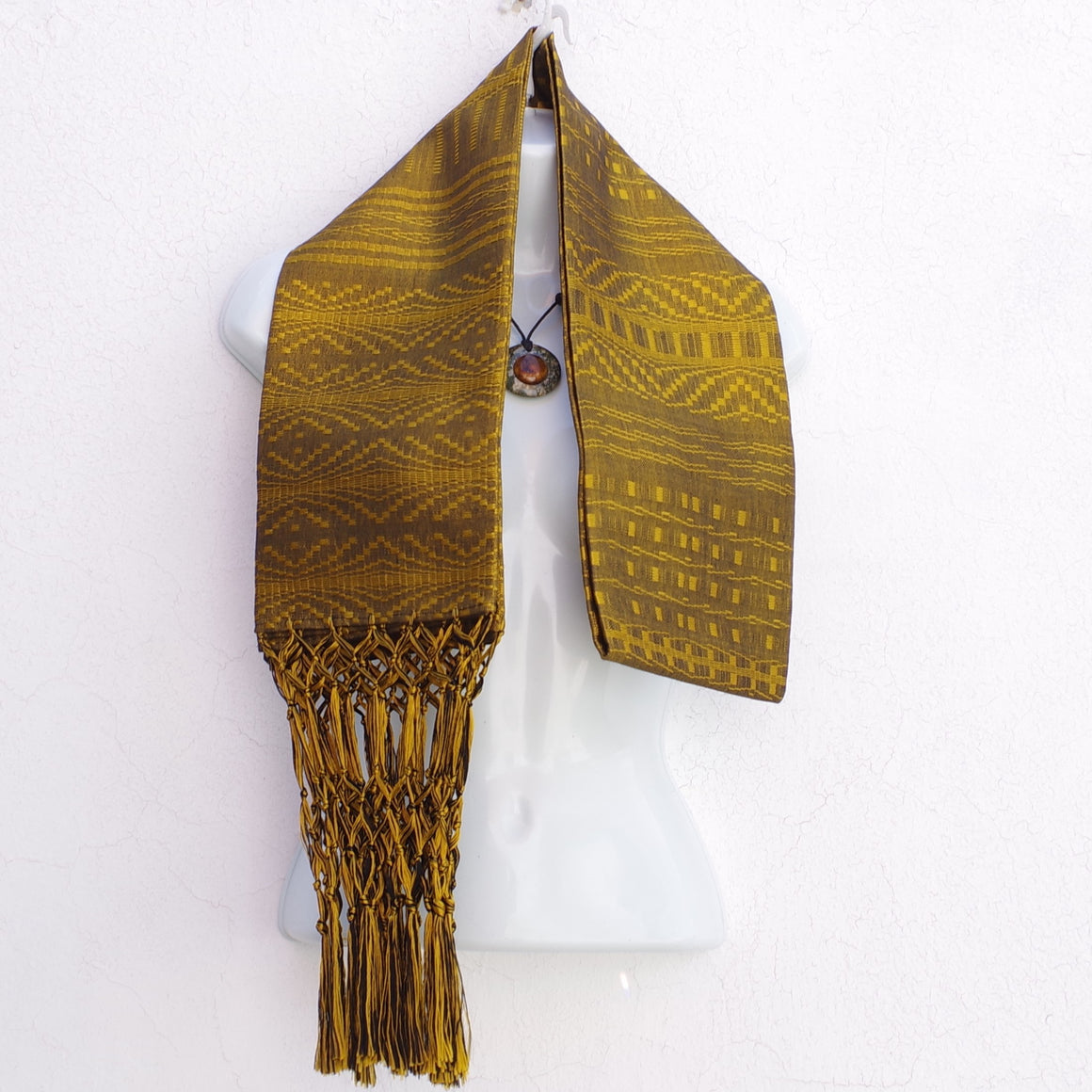 Mayan Copal Golden Yellow Rayon Mexican Rebozo Shawl Scarf