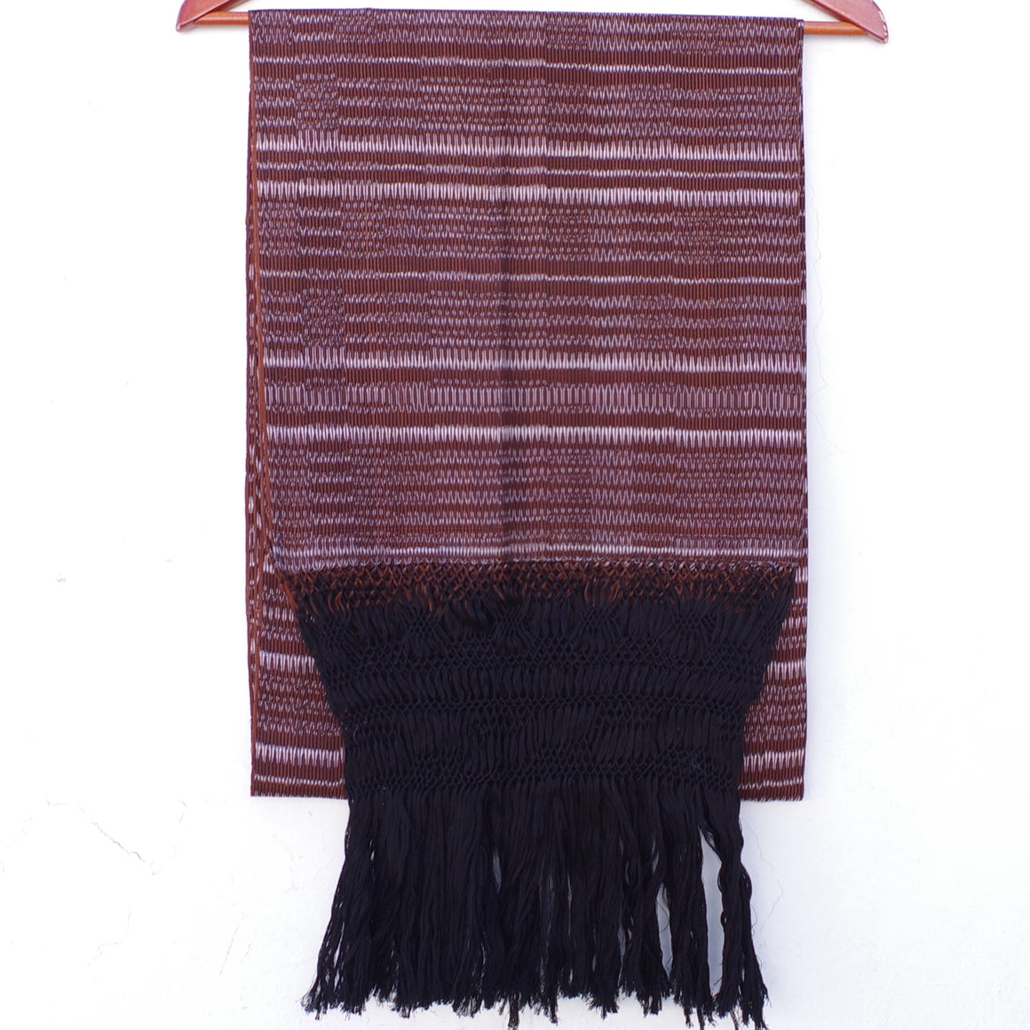 Mexican Rebozo Shawl with Black Fringes Embroidered with Pure Cotton from Tenancingo