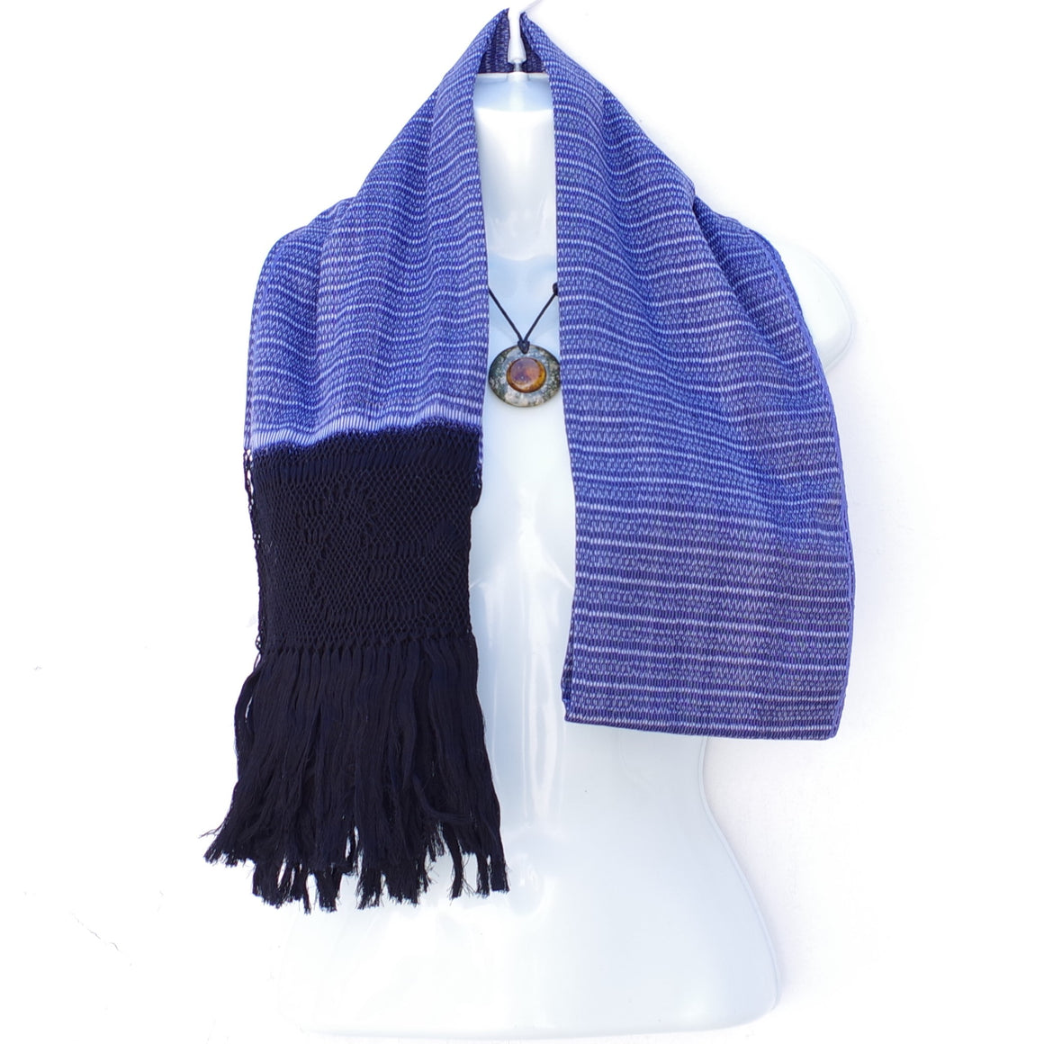 Mayan Copal Mexican Handwoven Blue Rebozo Shawl Wrap Scarf Runner From Tenancingo