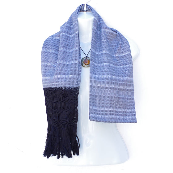 Mayan Copal Mexican Handwoven Light Gray Rebozo Shawl Wrap Scarf Runner From Tenancingo