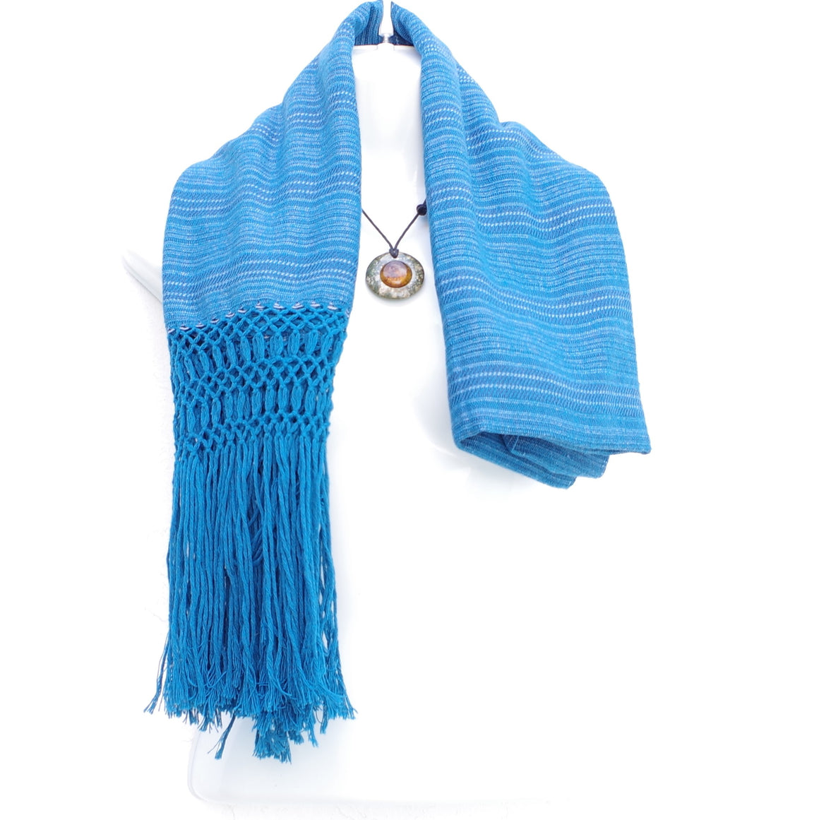 Mayan Copal Blue Mexican Rebozo Shawl with Fringes Embroidered with Cotton and Yard