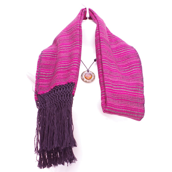 Mayan Copal Pink Mexican Rebozo Shawl with Black Fringes Embroidered with Cotton and Yard