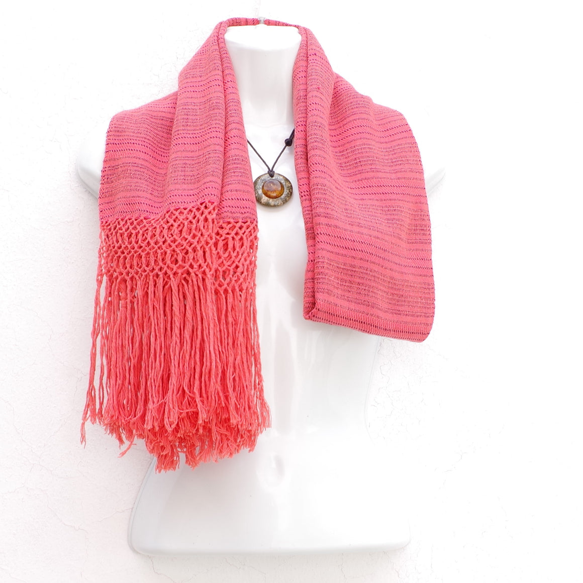 Mayan Copal Orange Mexican Rebozo Shawl with Fringes Embroidered with Cotton and Yard