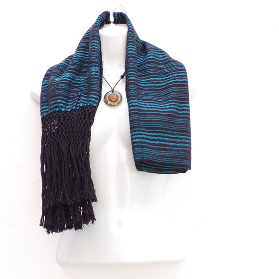 Mayan Copal Black and Blue Mexican Rebozo Shawl with Fringes Embroidered with Cotton and Yard