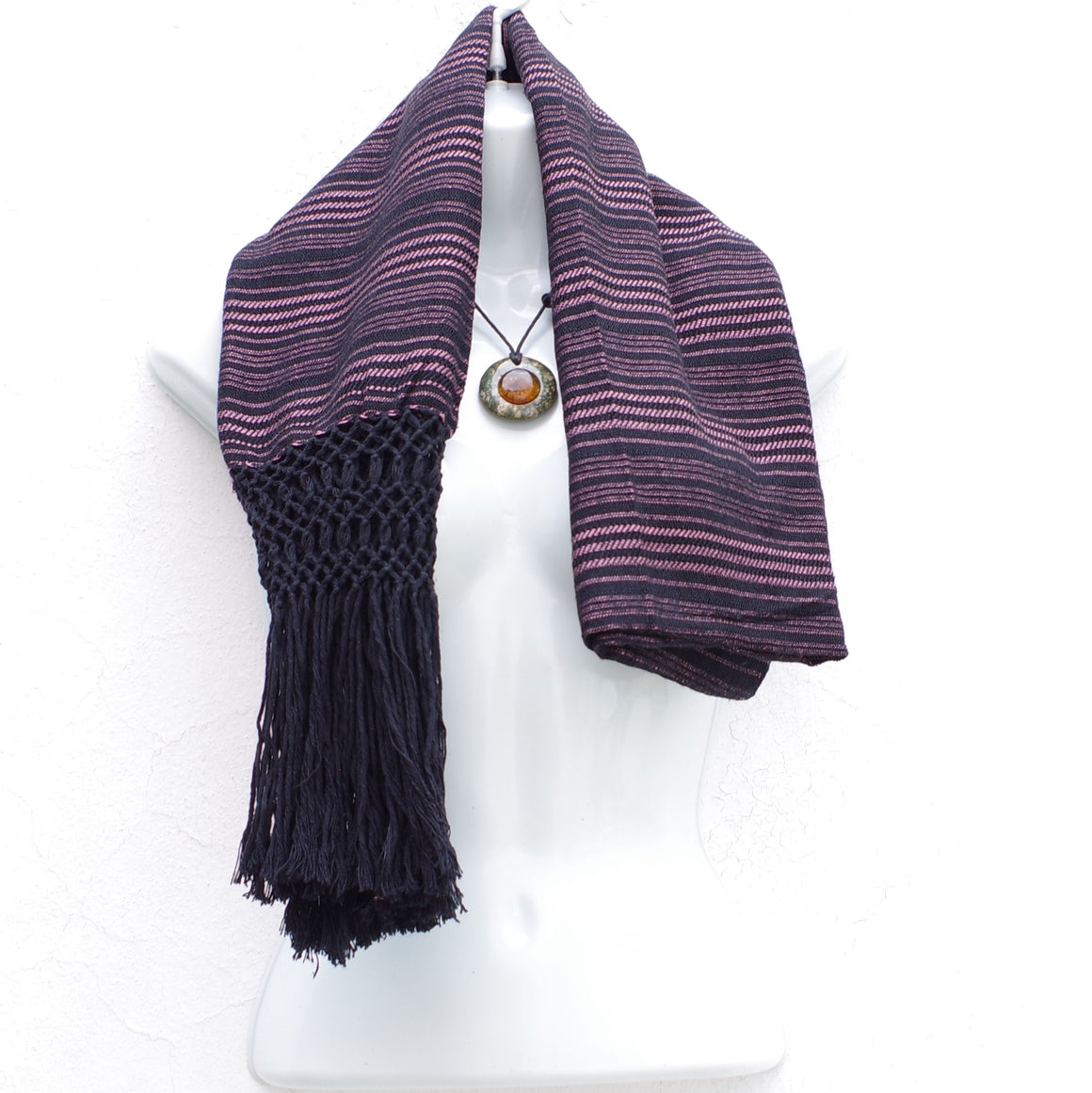 Mayan Copal Black and Pink Mexican Rebozo Shawl with Fringes Embroidered with Cotton and Yard