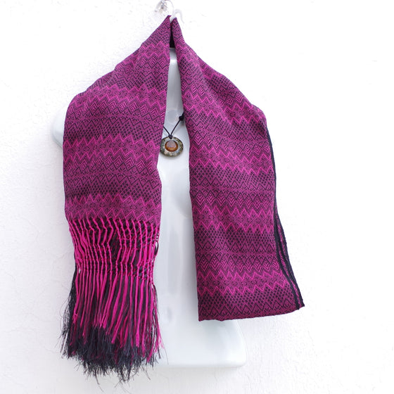 Mayan Copal Magenta and Black Mexican Rebozo Shawl with Fringes Embroidered with Cotton and Yard