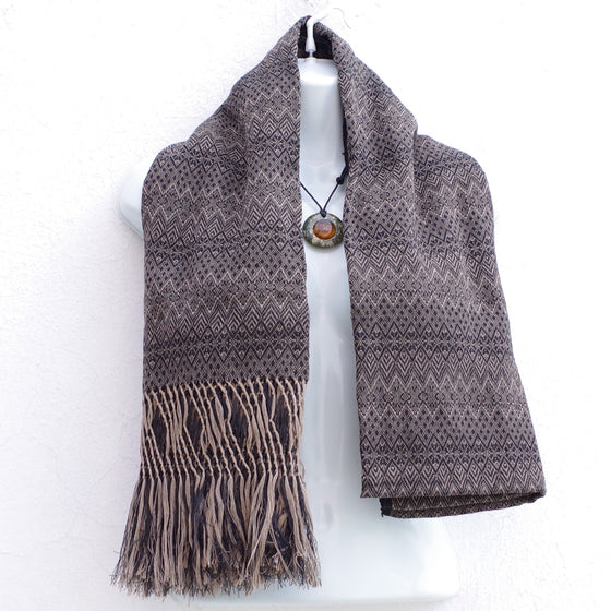 Mayan Copal Light Brown and Black Mexican Rebozo Shawl with Fringes Embroidered with Cotton and Yard