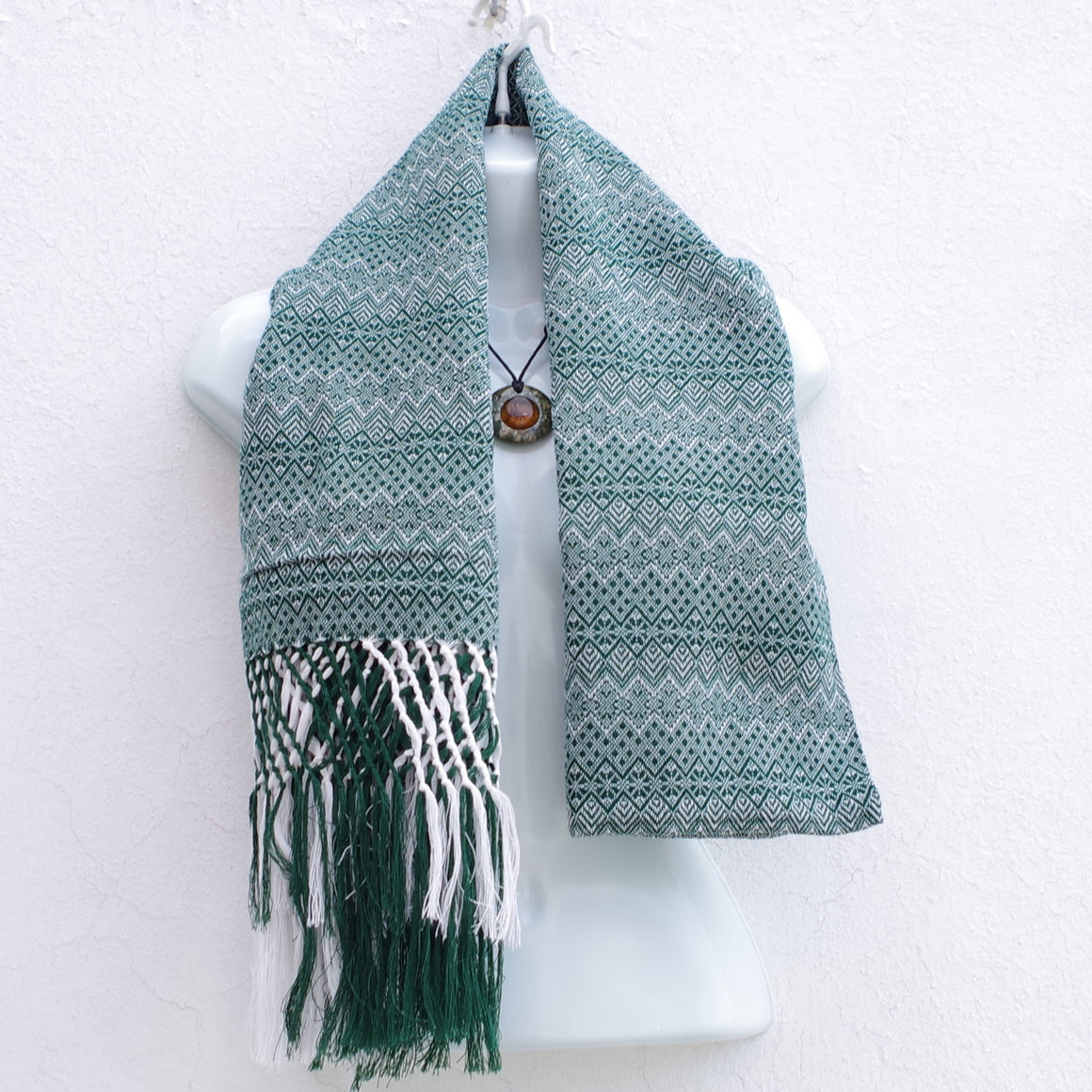 Mayan Copal Green and White Mexican Rebozo Shawl with Fringes Embroidered with Cotton and Yard