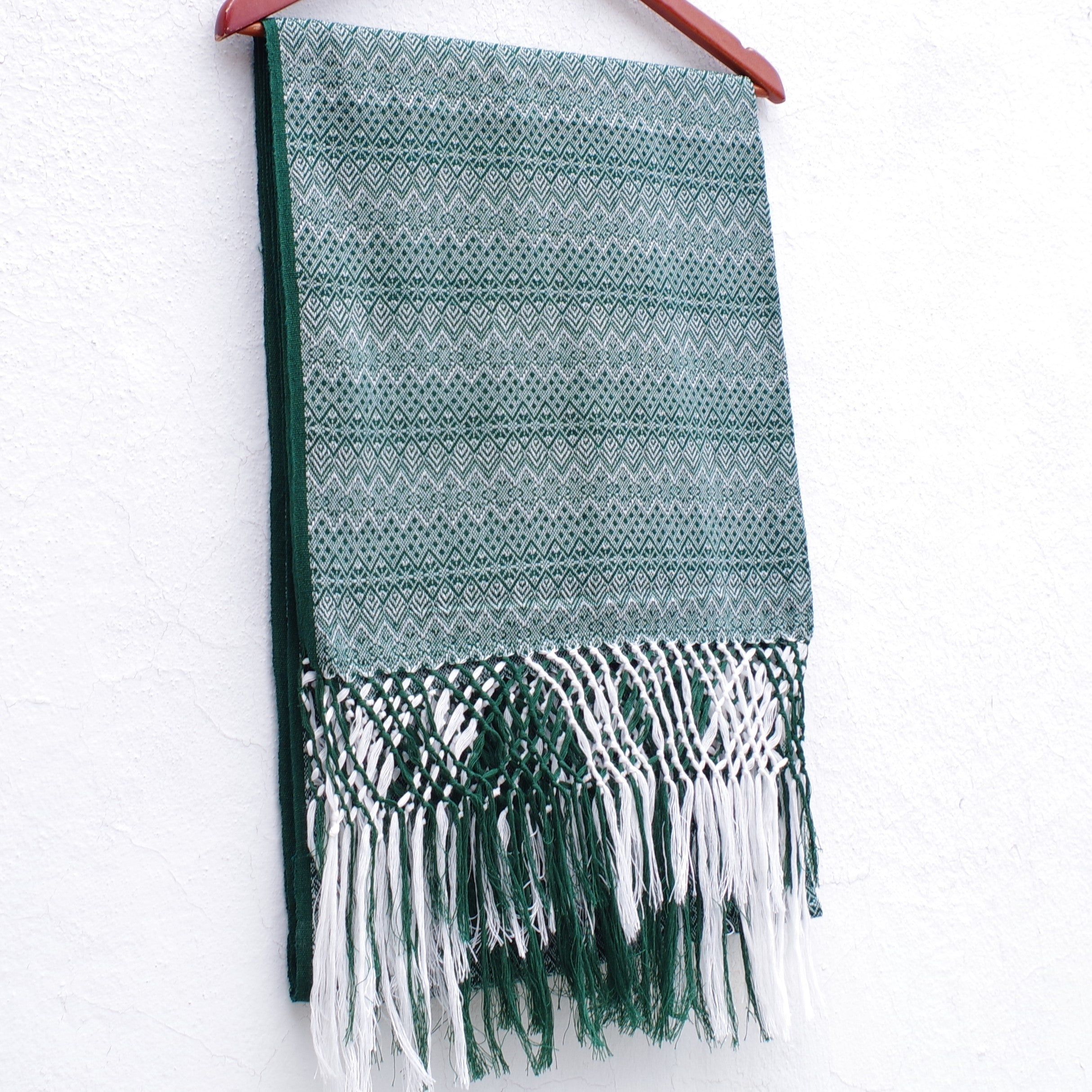 Green and White Mexican Rebozo Shawl with Fringes Embroidered with Cotton  and Yard