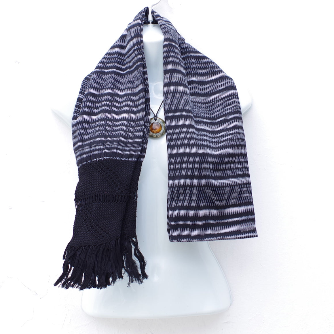 Mayan Copal Mexican Handwoven Black and White Rebozo Shawl Wrap Scarf Runner From Tenancingo
