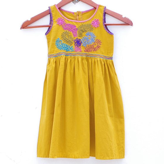 Mayan Copal Mustard Mexican Huipil 2-3 Years Old Child Button Dress with Multi color Hand Embroidery from Chiapas