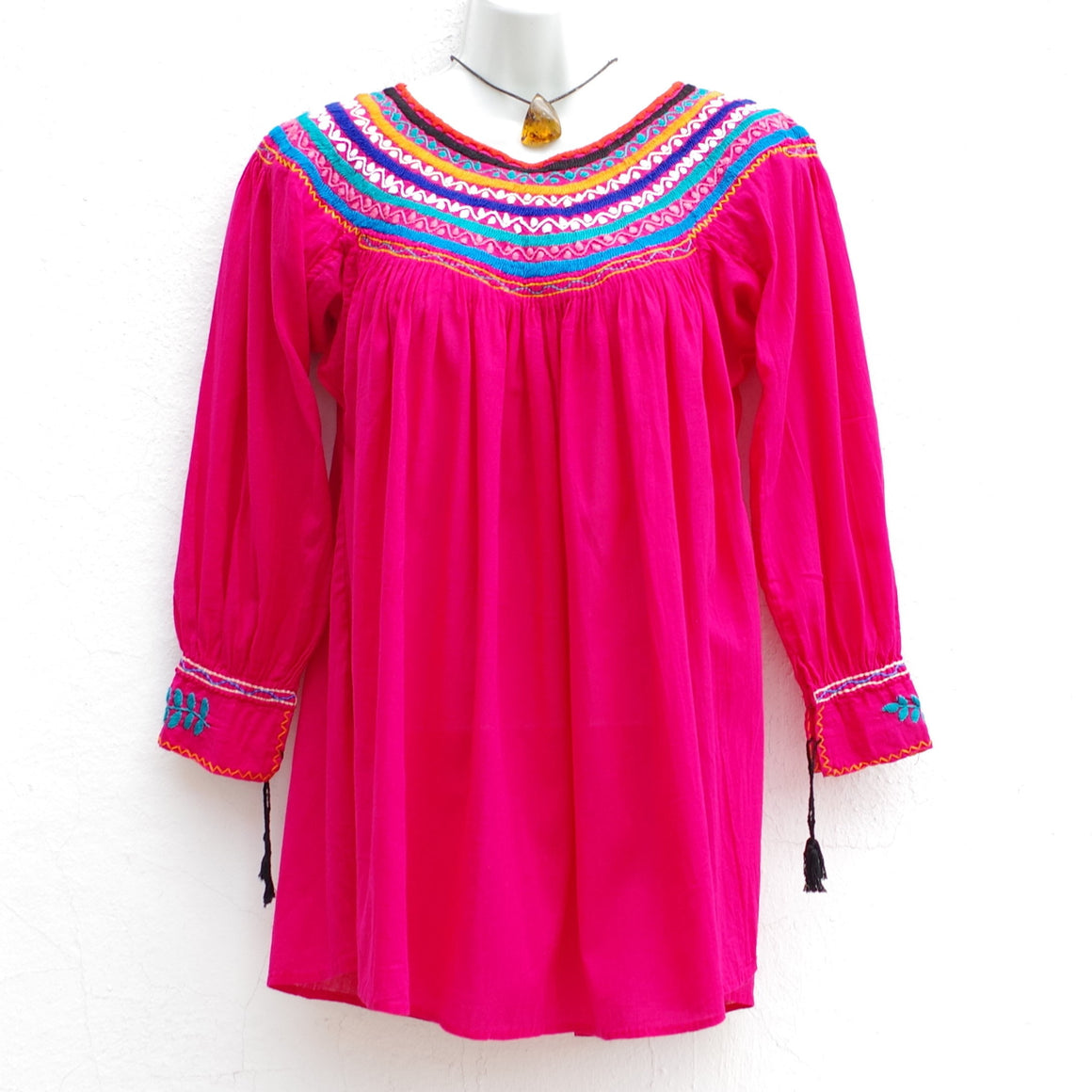 Mexican Women's Peasant Blouse Boho Hand Embroidery from Chiapas S