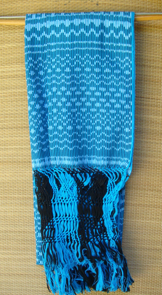 Mexican Handwoven Turquoise with Rebozo Shawl Wrap Scarf Runner From Tenancingo