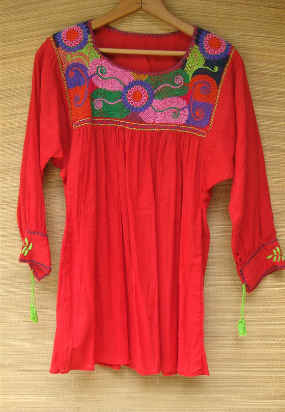 Mexican Blouse Huipil Red Multicolor Embroidered Flowers X- Small/Small