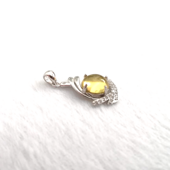 Mexican Amber Pendant 925 Silver with Cubic Zirconia
