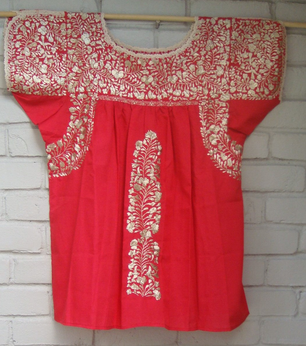 "Mexican ""Hazme Si Me Puedes"" Red with Golden/Silver Blouse Huipil Hand Embroidered Medium/Large"
