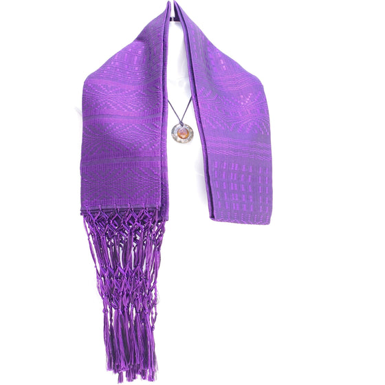 Purple Rayon Mexican Rebozo Shawl Scarf