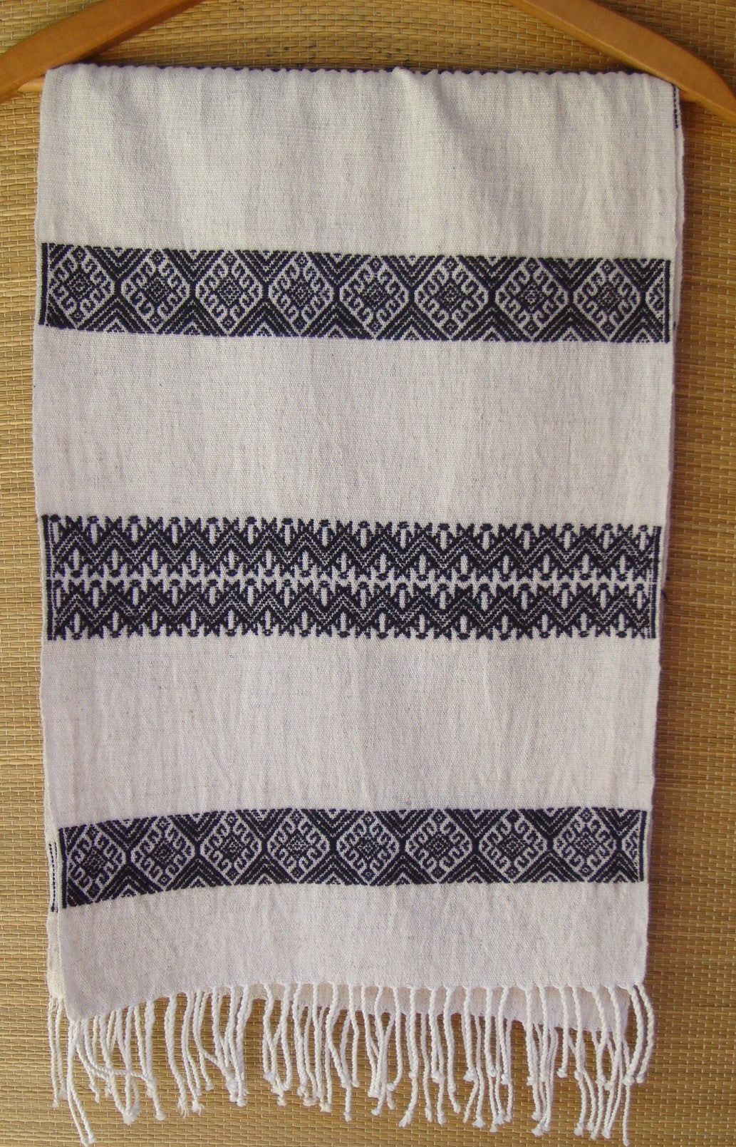Black White Rebozo Shawl Tablerunner with Geometric Pattern from Chiapas Mexico