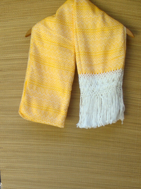 Yellow and White Mexican Rebozo Shawl with Fringes Embroidered with Cotton and Yarn