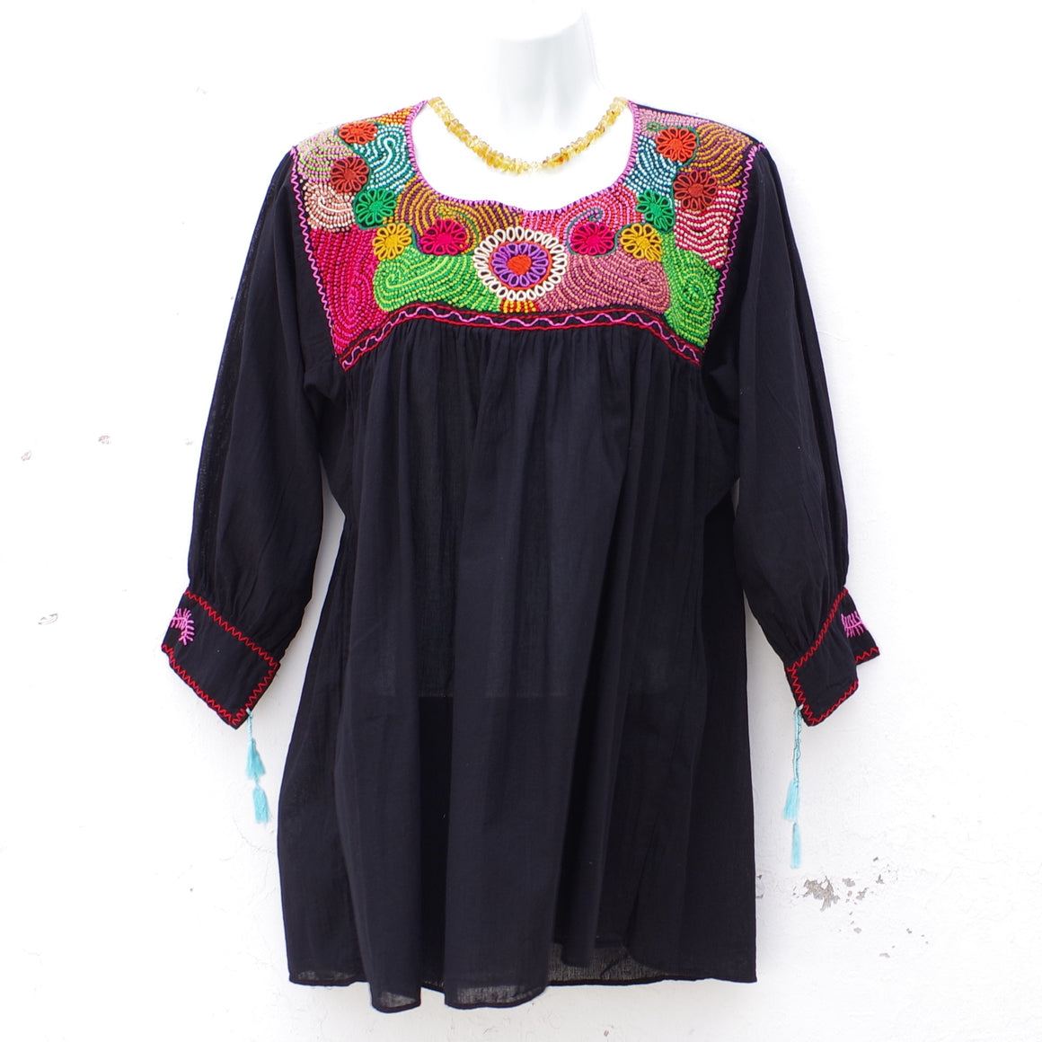 Black Mexican Huipil Round Neck Blouse with Multi color Flower and Leaves Hand Embroidery from Chiapas L Size
