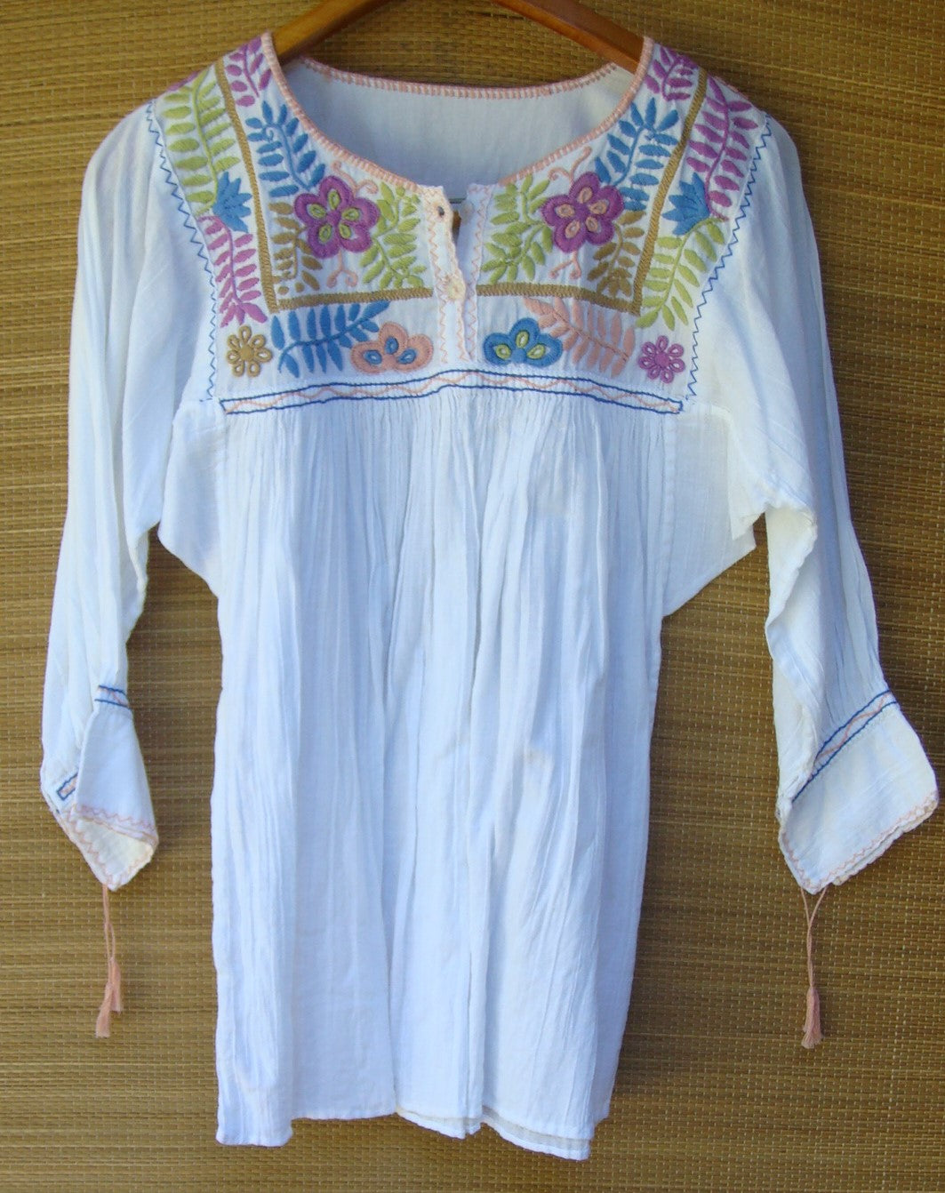 Mexican White Multi Color Flowers Peasant Blouse Huipil Hand Embroidery Small