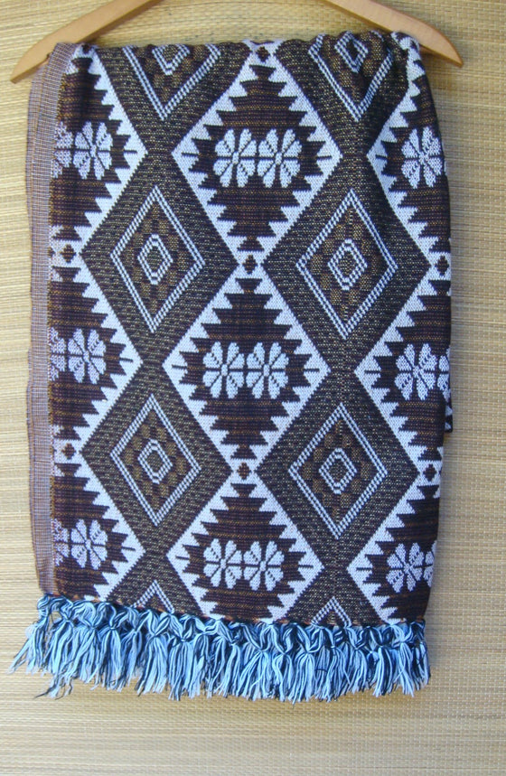 Mexican Women's Rebozo Shawl w Geometric Pattern Frida Kahlo Accessories