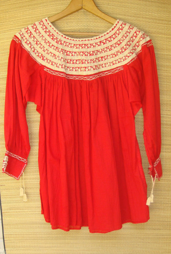 Mexican Blouse Huipil Red with Beige Embroidery Small/Medium