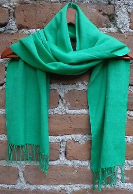 Green Rebozo Shawl Handwoven Scarf from Mexico