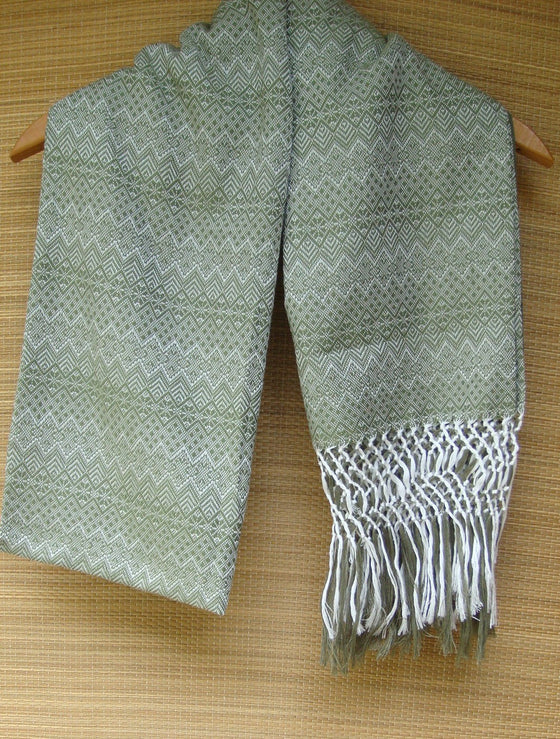Olive Green Rebozo Shawl with Fringes Embroidered Cotton