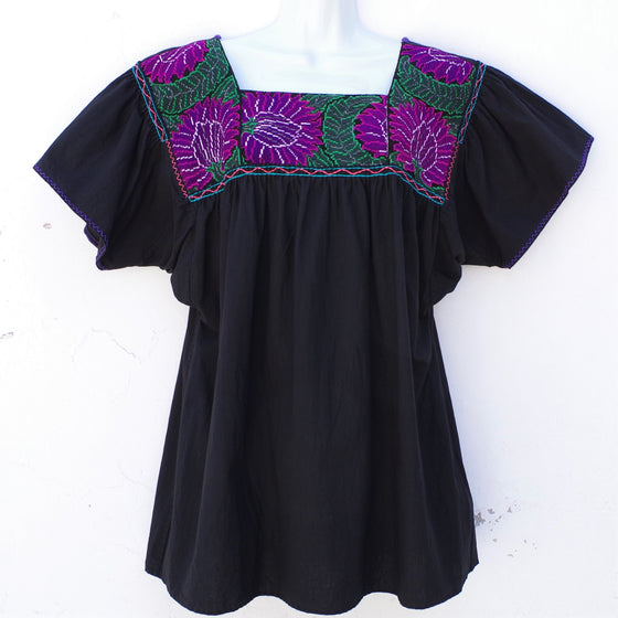 Black Mexican Huipil Blouse with Green and Purple Hand Embroidery from Chiapas Large