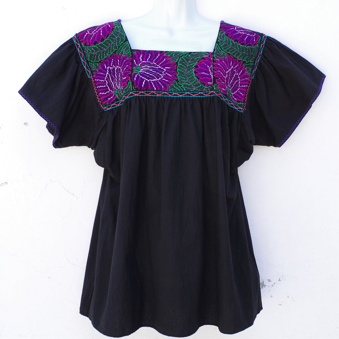 Black Mexican Huipil Blouse with Green and Purple Hand Embroidery from Chiapas L Size