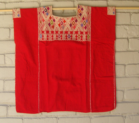 Red Mexican Huipil Blouse Embroidery from Chiapas fits L XL XXL
