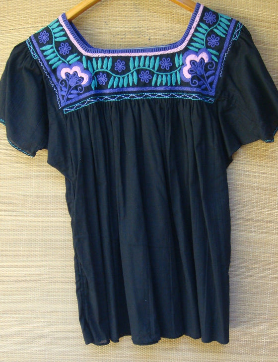 Mexican Peasant Blouse Huipil Hand Embroidery Black Multi color Floral Design Small/Medium
