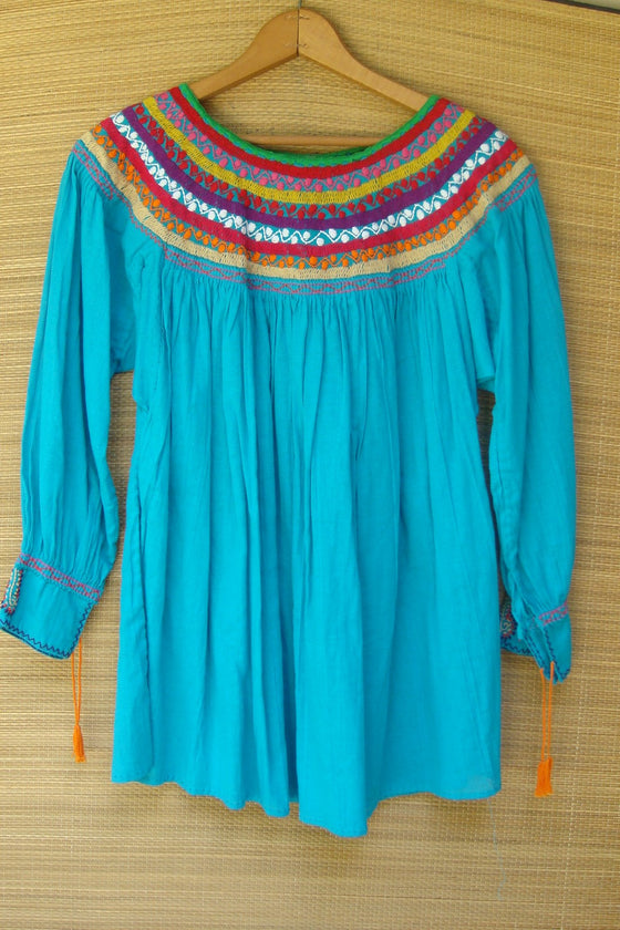 Mexican Blouse Huipil Blue Multicolor Embroidered Flowers Small/Medium