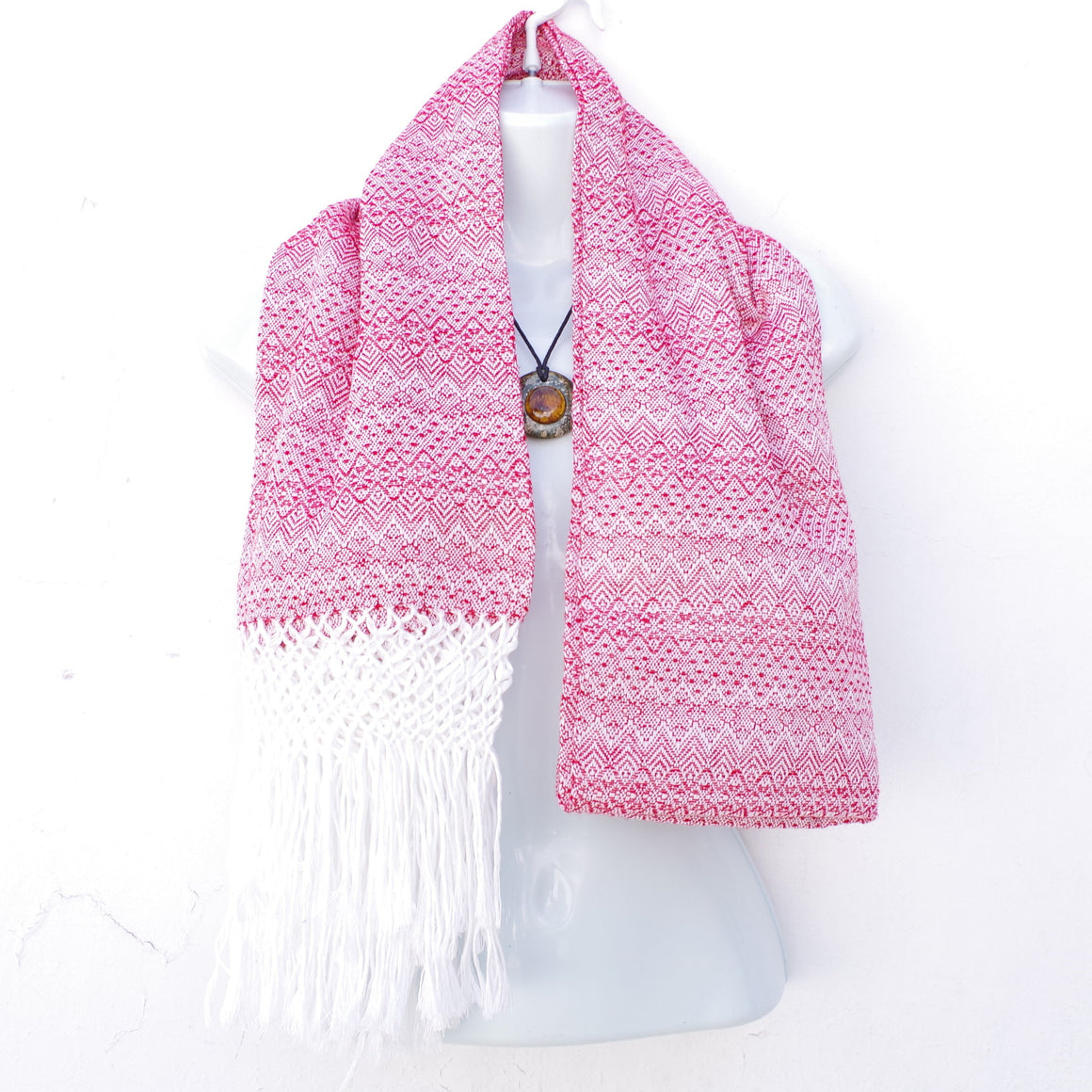 Red and White Mexican Rebozo Shawl with Fringes Embroidered with Cotton and Yarn