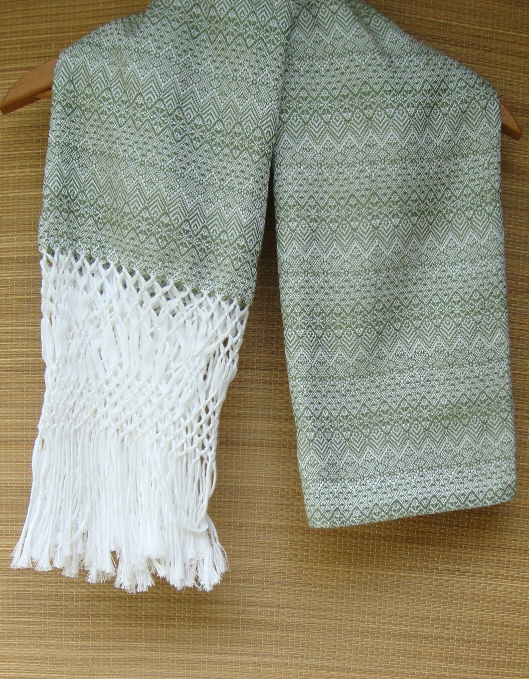 Light Green Rebozo Shawl with Fringes Embroidered Cotton