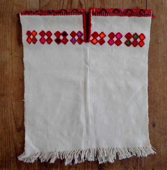 Children's White Red Multi Mexican Embroidered Peasant Blouse Huipil Tunic True Vintage Chiapas Mexico