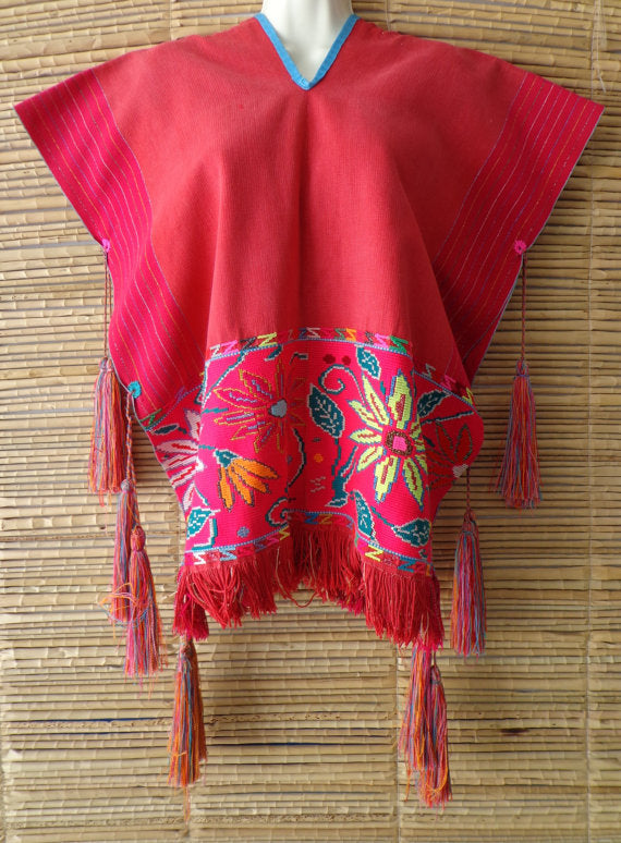 Pink Orange Multi Mexican Embroidered Peasant Blouse Cape Poncho True Vintage