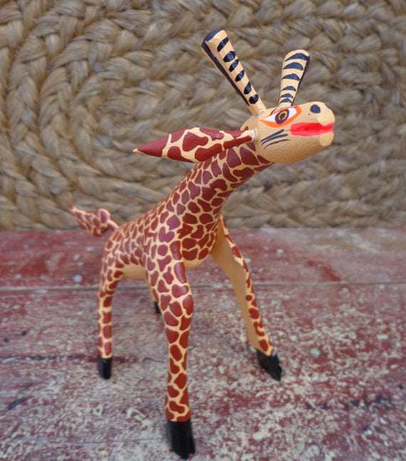 Alebrije Oaxaca Mexican Folk Art Hand Painted Woodcarving Giraffe