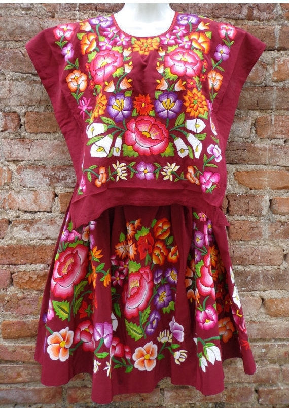 Vintage Mexican Huipil Dress Tehuana Embroidered Oaxaca Frida Kahlo