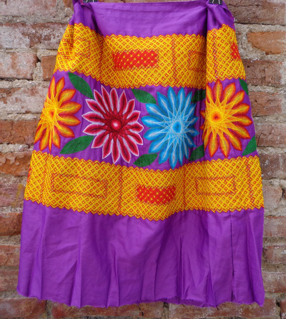 Mexican Tehuana Dress piece True vintage Frida Kahlo style Flowers Embroidered Oaxaca Mexico
