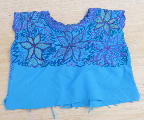Blue Purple Mexican Embroidered Peasant Blouse Huipil Tunic True Vintage Chiapas Mexico