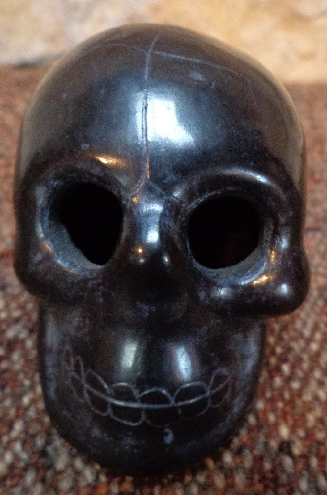 Mexican Oaxaca Black Clay Pottery Skull Figurine Accessories