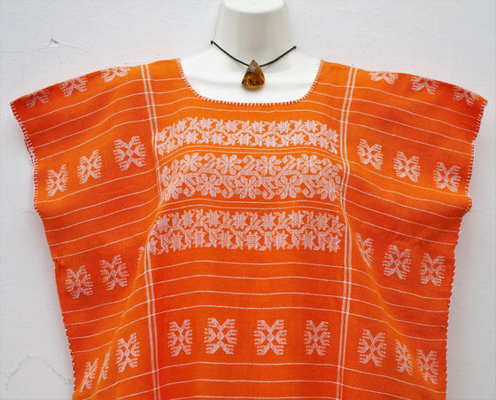 Mexican Women's Amuzgo Orange Dress Huipil Tunic Flowers Design XXL