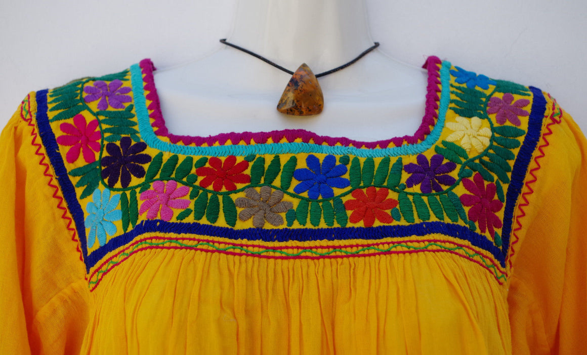 Yellow Embroidered Mexican Huipil Blouse Peasant Tunic M/L